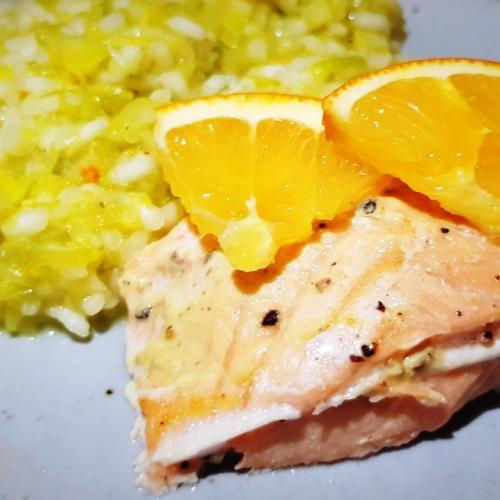 Lauchrisotto mit Orangen-Lachs - Dein Rezept auf Rezept-Buch.de